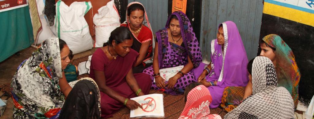 Women in Mandla, Madhya Pradesh listen to a health worker explain about malaria. Photo: Wikimedia Commons