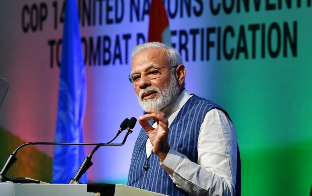 PM Modi at UNCCD COP14. Photo: PIB/Twitter