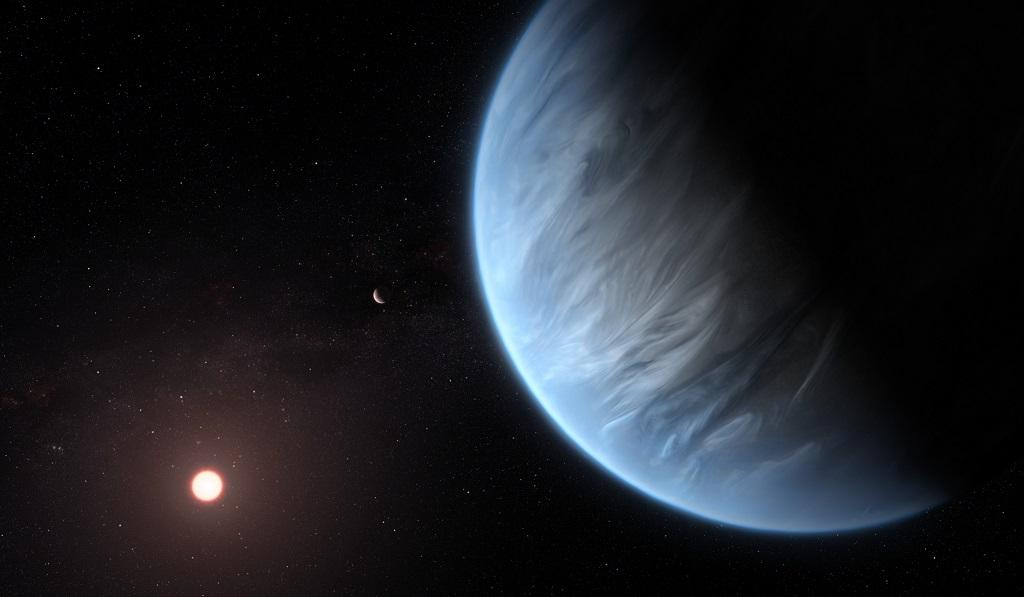 This artist's impression of the planet K2-18b, its host star and an accompanying planet. Photo: ESA/Hubble, M Kornmesser