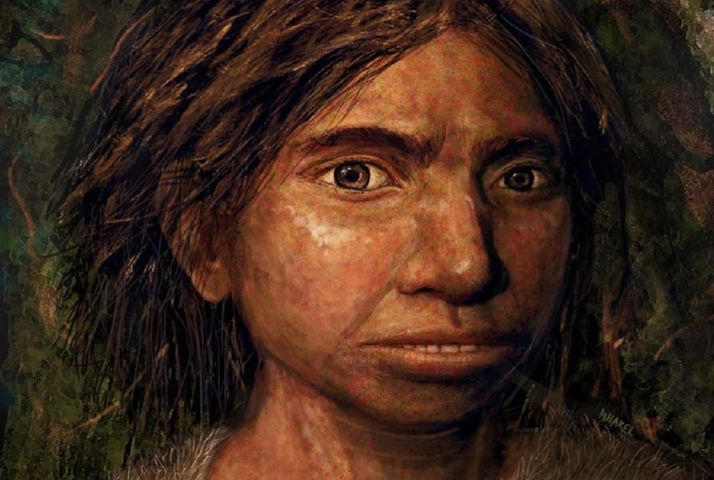 An artist's impression of a young female Denisovan, based on skeletal traits derived from chemical changes to ancient DNA. Photo: Maayan Harel