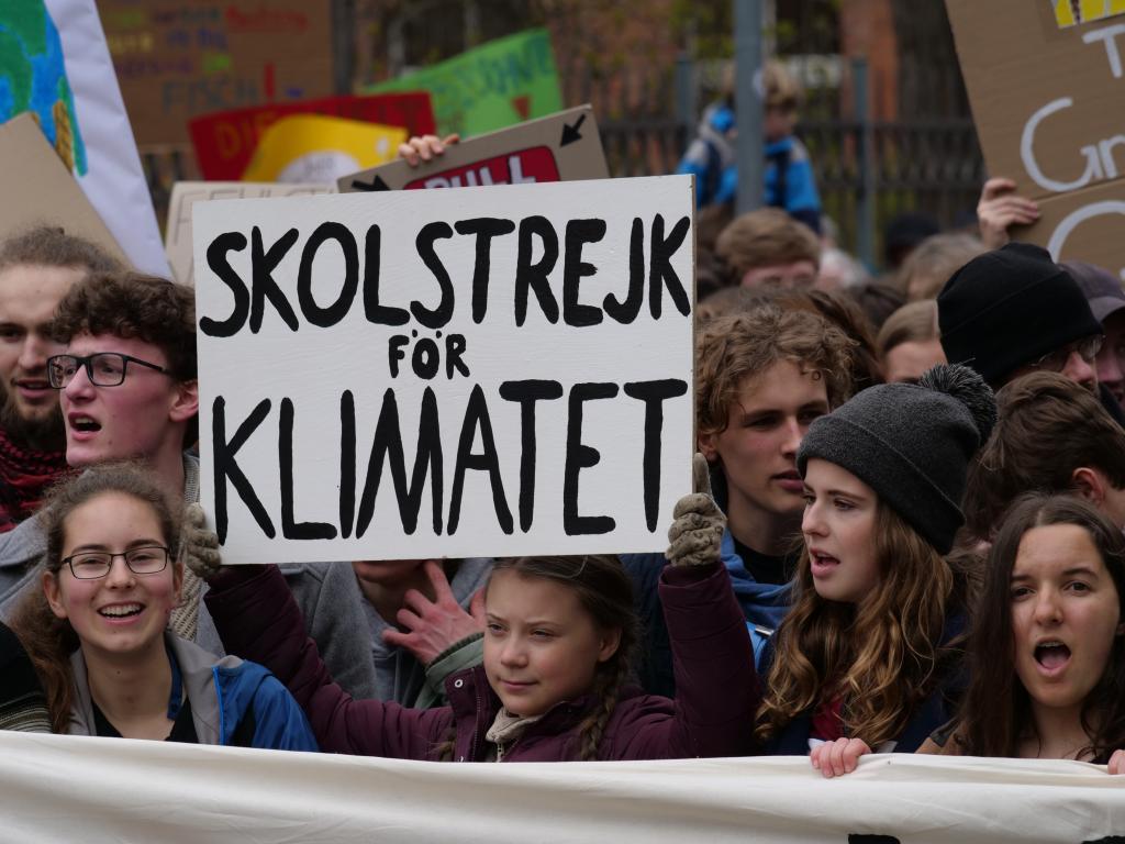 Greta Thunberg at climaet protest. Photo Wikimedia Commons