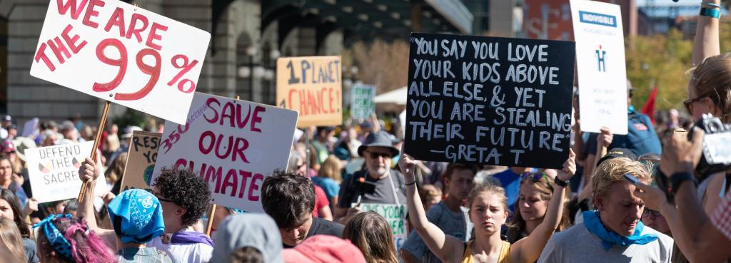 Climate strike in Denver. Photo: Andy Bosselman, Streetsblog Denver