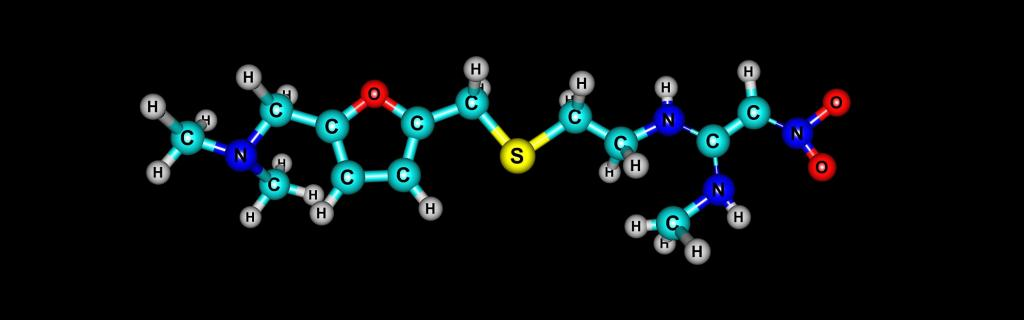 The molecular structure of ranitidine, a popular dug prescribed for acid reflux and heartburn. Photo: Getty Images
