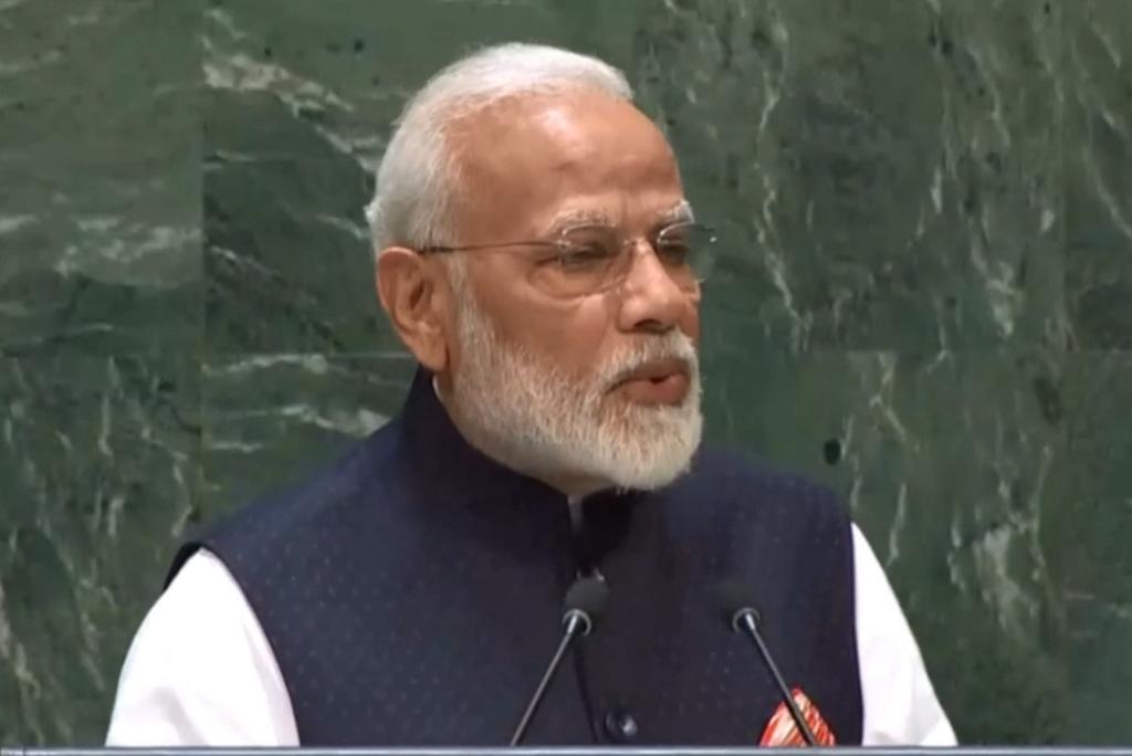 संयुक्त राष्ट्र जनरल असेंबली को संबोधित करते हुए प्रधानमंत्री नरेंद्र मोदी। Photo: PMO twitter