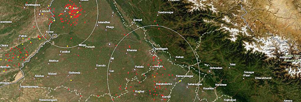 Nasa's satellite fire map of North India dated September 26, showing fires in Punjab and Haryana. Photo: Nasa