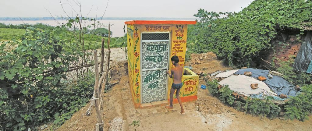 Swachhagrahis in Uttar Pradesh's Benda village organise competitions for toilet decoration so that people stay motivated, keep toilets clean and use them. Photo: Vikas Choudhary