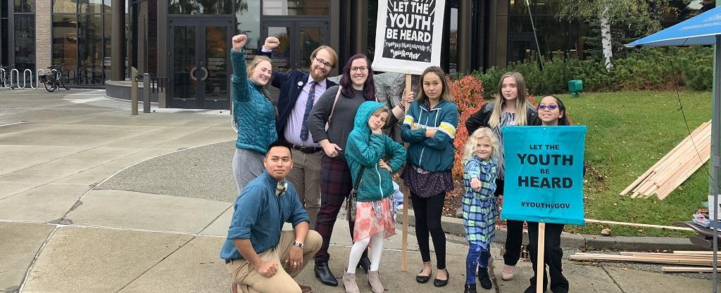 The children and youth outside the Alaska Supreme Court for the hearing. Photo: Our Children's Trust