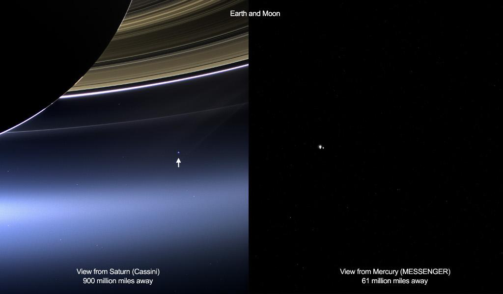 On July 19, 2013 Earth was photographed from two other worlds of the solar system — innermost planet Mercury and ringed gas giant Saturn. (Left) Earth is the pale blue dot just below the rings of Saturn, as captured by robotic Cassini spacecraft. The same day, people on Earth snapped Saturn. (Right) The Earth-Moon system is seen against the dark background of space as captured by the robotic MESSENGER spacecraft. Photo: Cassini Imaging Team, NASA