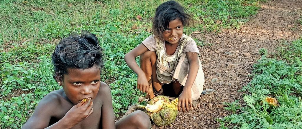 Children eating jackfruit in West Singhbhum. Photo: Rajeev Ranjan