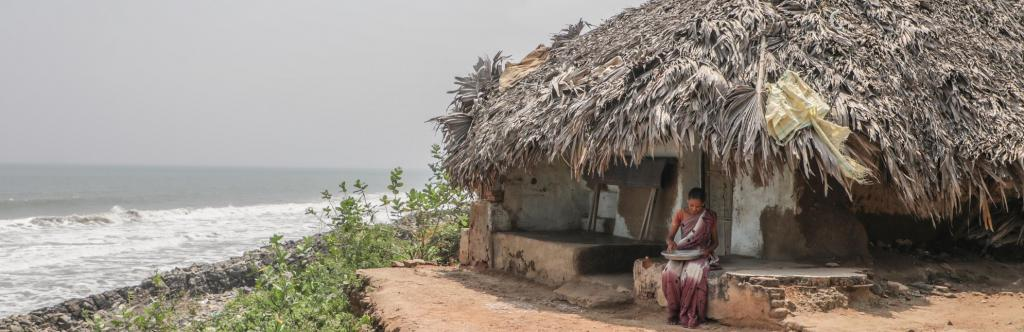 45-year-old Chera Nagamani, whose house now overlooks the sea in Uppada. Photo: Shawn Sebastian