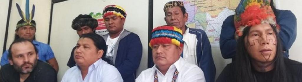 Indigenous leaders at the press conference in Quito. Photo: @AmazonWatch/Twitter