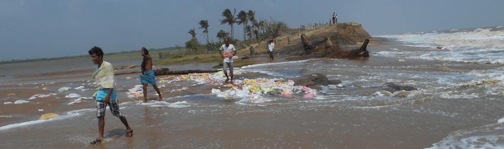 Sea water enters a coastal village in Odisha. Photo: Ashis Senapati