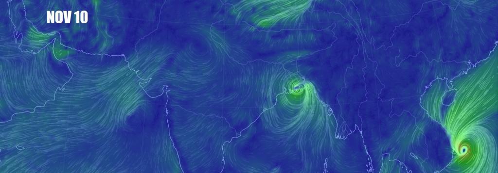 Cyclone Bulbul November 10. Credit: Earth Nullschool