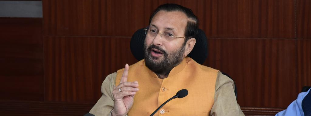 Forest minister Javadekar addresses reporters. Photo: @PrakashJavdekar/Twitter