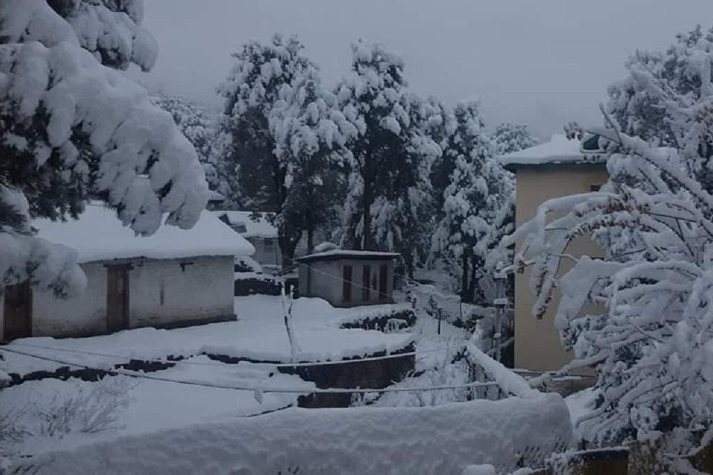 हिमाचल प्रदेश के पिऊ इलाके में मौसम की पहली बर्फबारी का दृश्य। फोटो: twitter/@ITBP_official