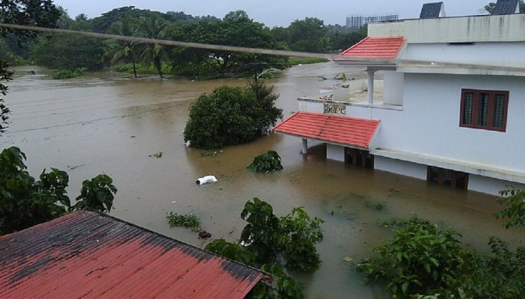 Floodwaters in Angamaly, Kerala, in 2019. Photo: Wikipedia