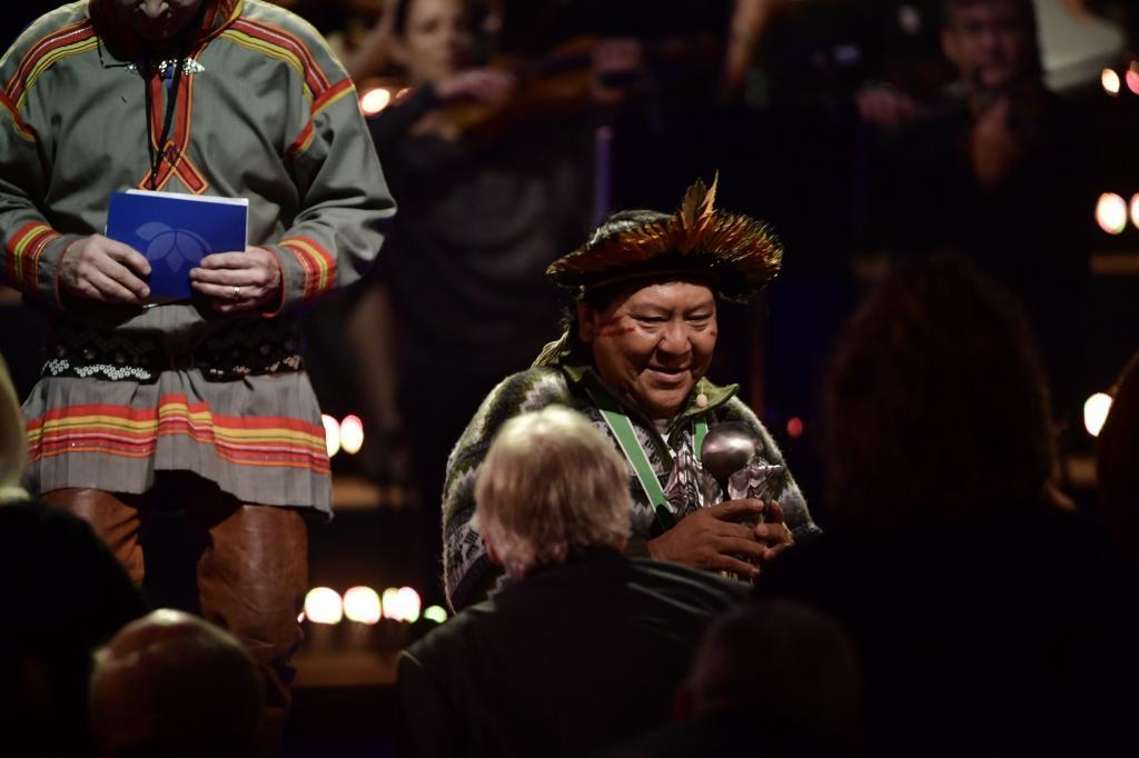 Davi Kopenawa after his acceptance speech at Right Livelihood Award. Photo: Survival International