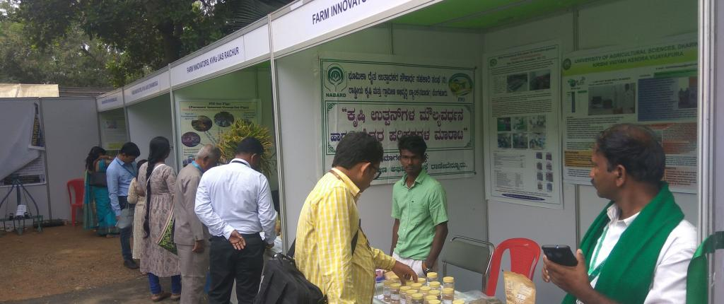 Stalls selling farm produce at the Farmers Science Congress in Bengaluru. Photo: @IndiaDST