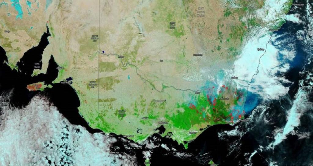 This image shows the burnt out areas in Australia in dark brown or black, like Kangaroo island on the left of the image. Untouched areas are shown in green or bright green. The image also shows two types of clouds: One type are white in colour, form lower to the ground and consist mostly of water droplets. The other type are made up of ice crystals, are dense and higher up and shown in turquoise. Photo: Nasa