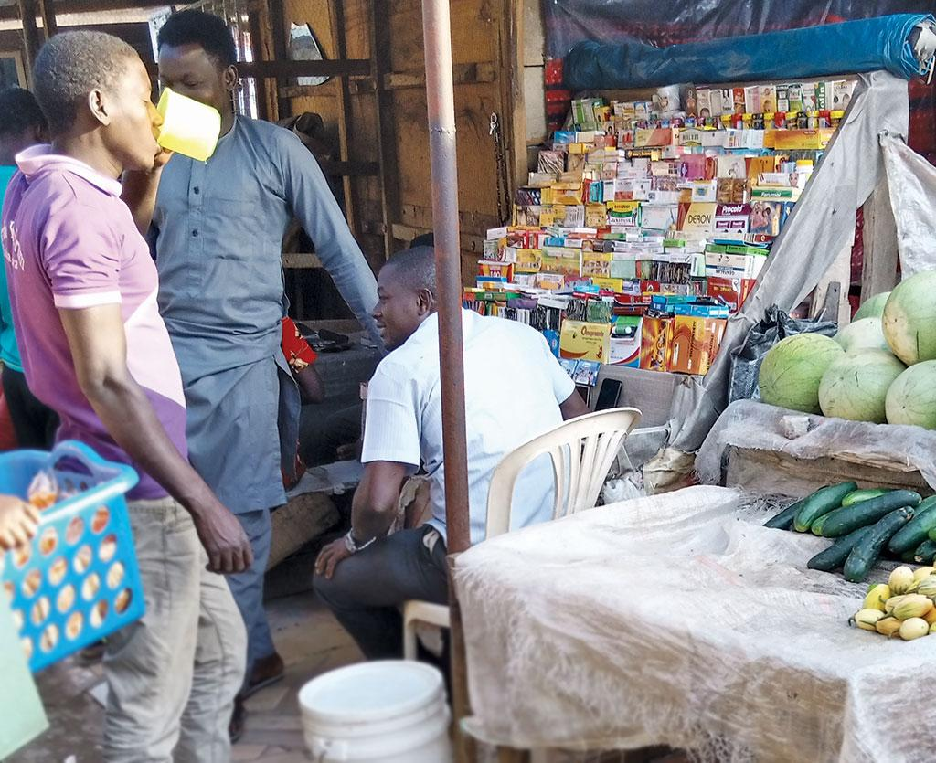 A shop in Nigeria's Kpana Market selling antibiotics without any prescription (Photograph: Vincent Yusuf)