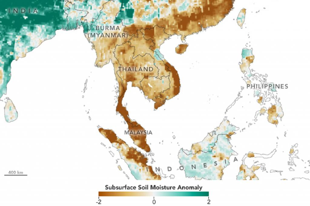 Data from NASA's SMAP mission shows the severe dry conditions being experienced in Thailand and neighboring countries. Photo: NASA Earth Observatory