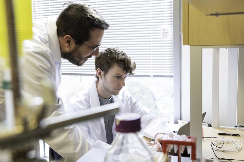 Researchers Jason McLellan (left) and Daniel Wrapp study the structure of the novel coronavirus. Photo: Vivian Abagiu / University of Texas