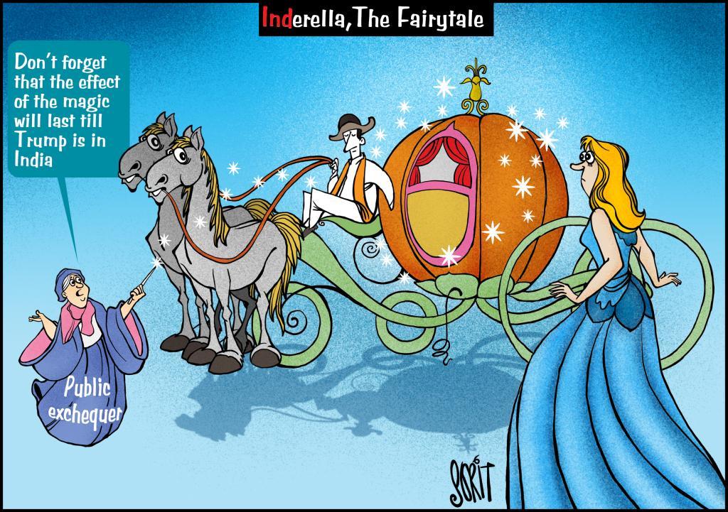Donald Trump India visit. Cartoon: Sorit Gupto