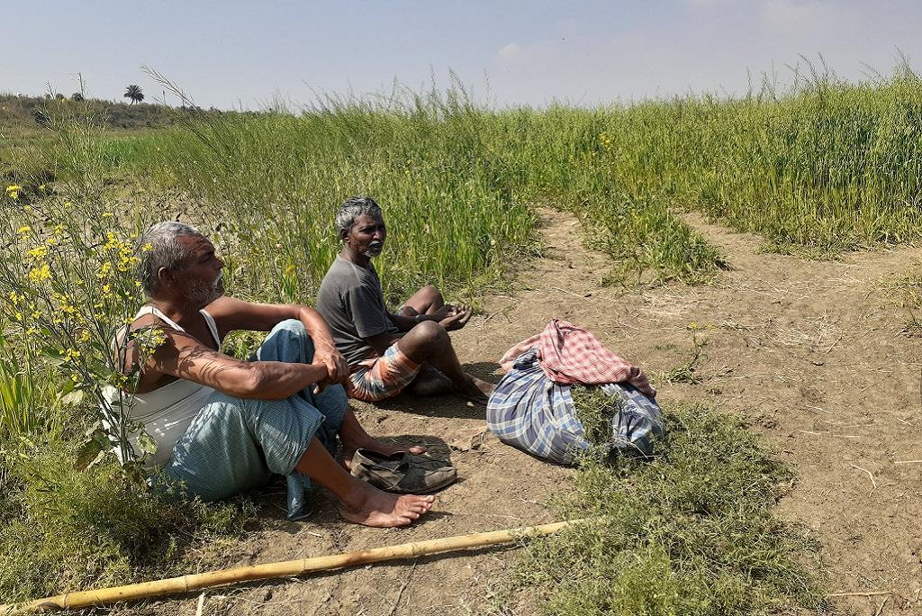 मोकामा टाल इलाके में खाली बैठे किसान। फोटो: पुष्यमित्र
