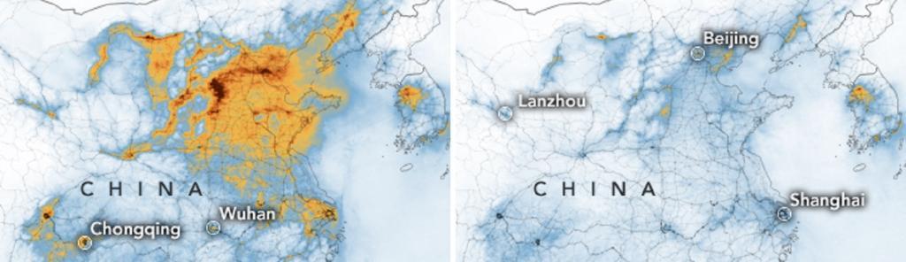 China pollution decreases amid coronavirus outbreak. Source: NASA Earth Observatory