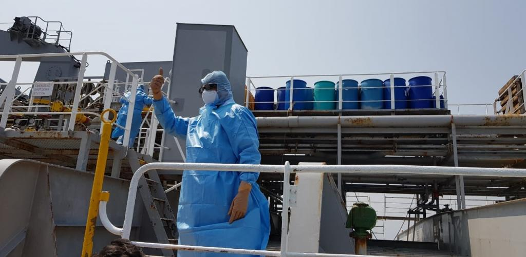 Health officials aboard a ship in Paradip port to examine crew members. Photo: Ashis Senapati