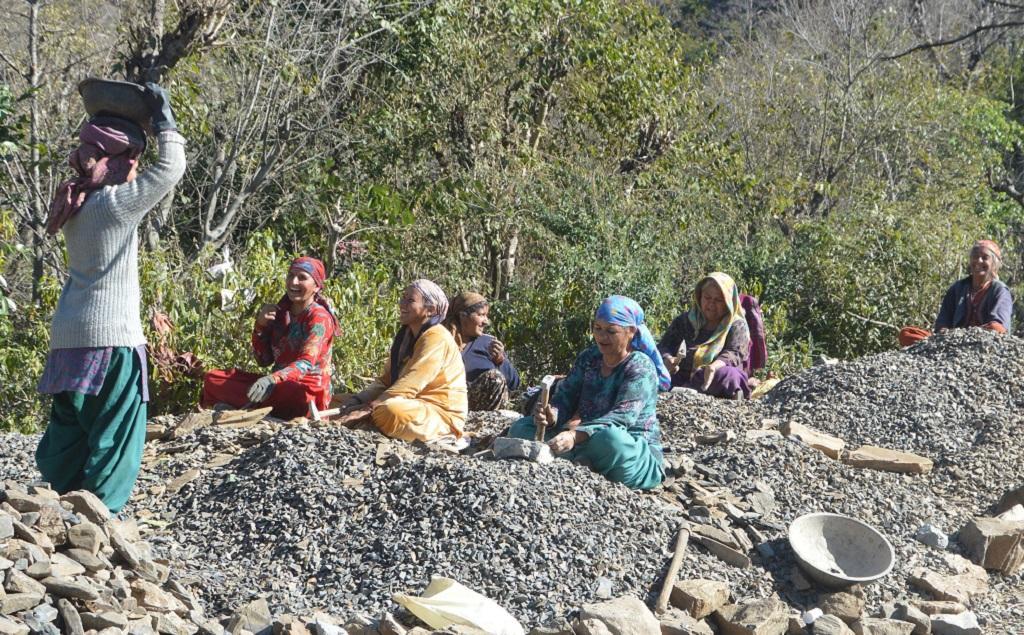 हिमाचल प्रदेश में मनरेगा के तहत काम करती स्थानीय महिलाएं। फोटो: रोहित पराशर