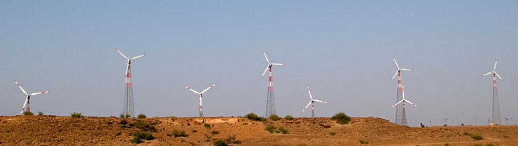 Wind turbines in Thar desert. Source: Wikimedia Commons