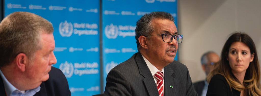 WHO director general Tedros A Ghebreysus addressing the meeting where the body declared the COVID-19 outbreak to be a pandemic. Photo: WHO Twitter handle