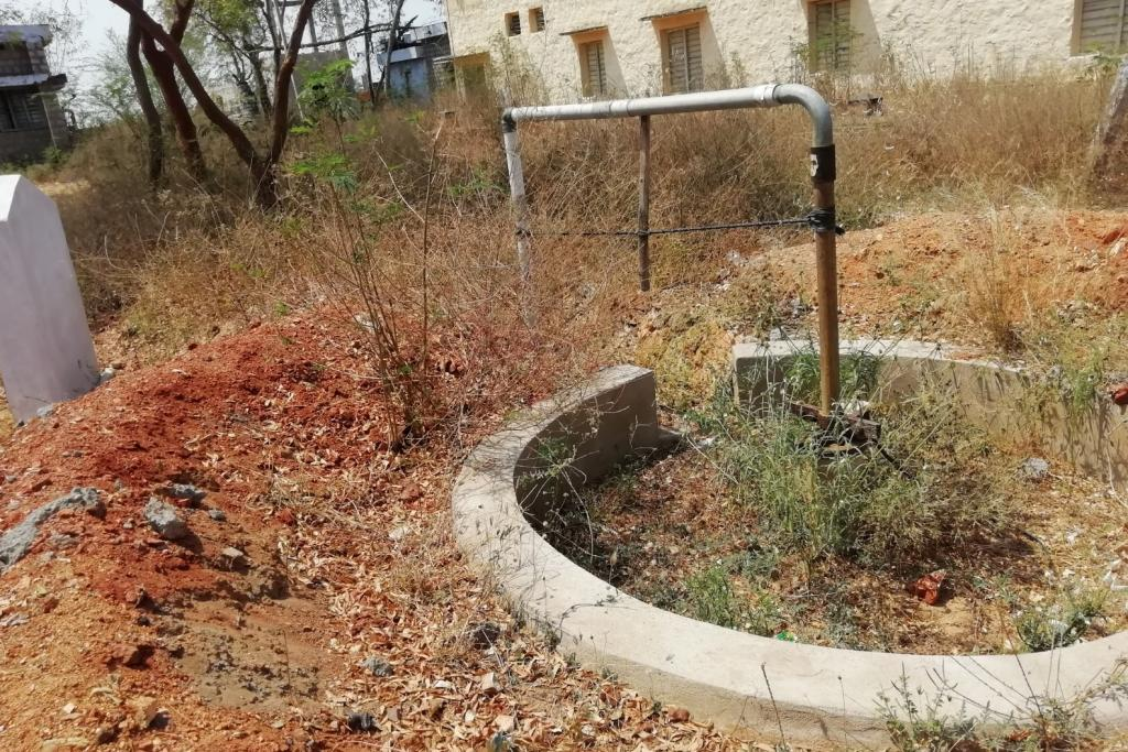 Borewell readied for recharge of ground water with rain water at the public health centre in Devapatla village of Sambepalli mandal, Kadapa district, AP.