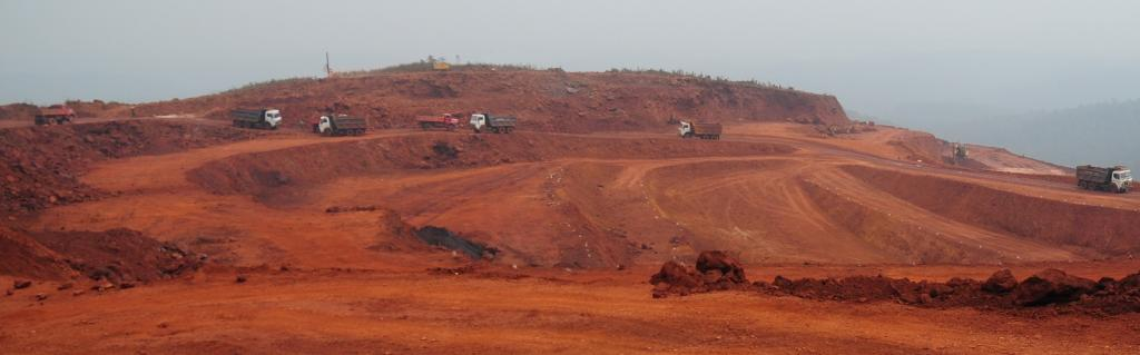 The periphery of Saranda has turned red due to the existing iron ore mines Photo: Sayantan Bera