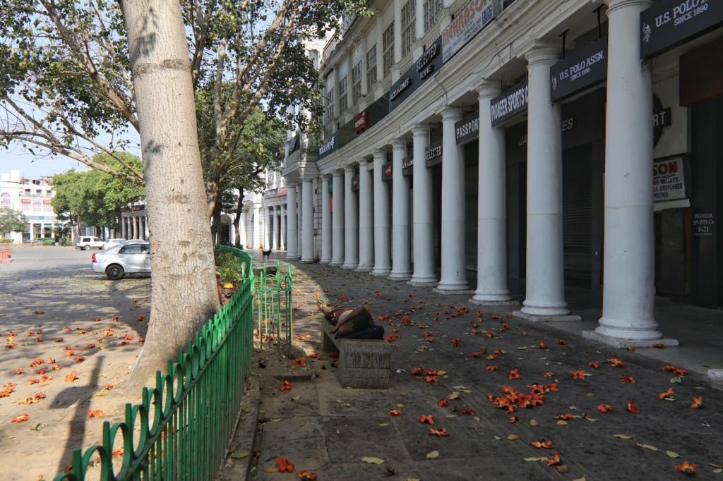 A deserted view of Connaught Place, New Delhi, on the first day of country-wide lockdown.