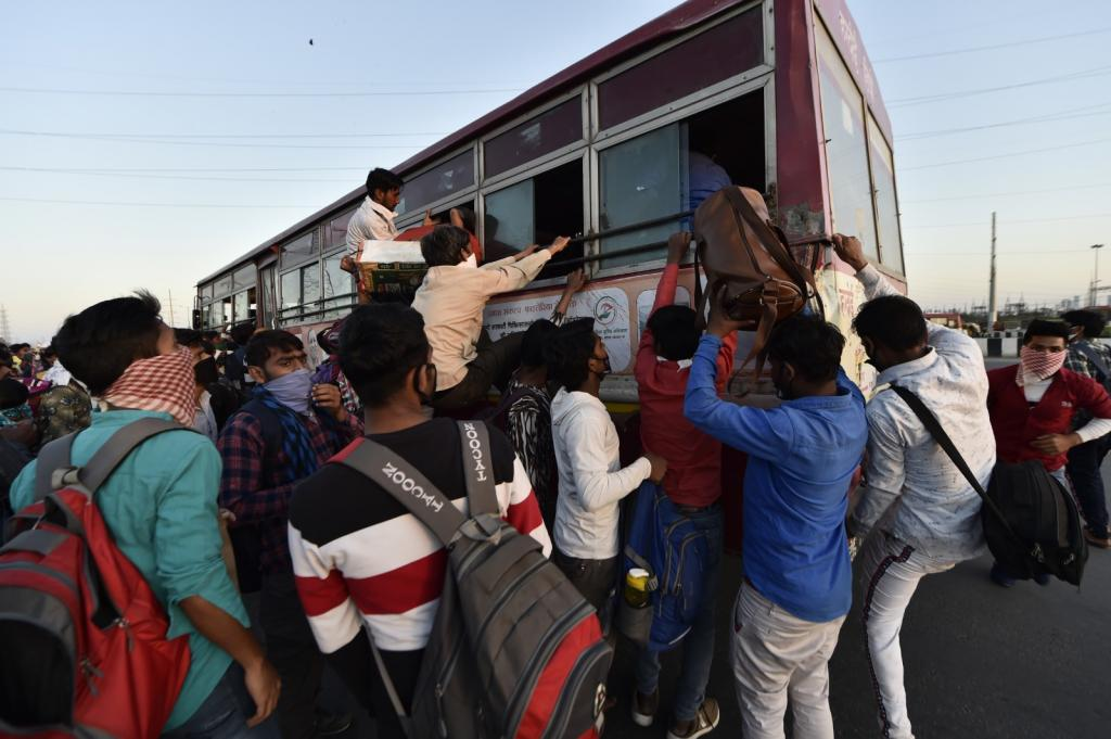 Workers try to board bus at Anand Vihar bus station amid lockdown, Delhi. Mandatory social distancing, reiterated by PM Modi in both his addresses, was impossible in such a scenario. At a time when the government is hinting at community transmission, such gatherings have already posed a massive health risk. So what purpose did the lockdown serve?