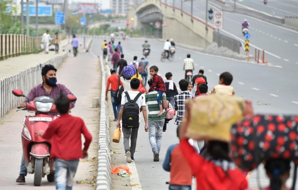 Migrant workers and daily wage labourers start walking to their villages hundreds of kilometres away. Without work and public transport, workers were left with little choice but to head back home — on foot.
