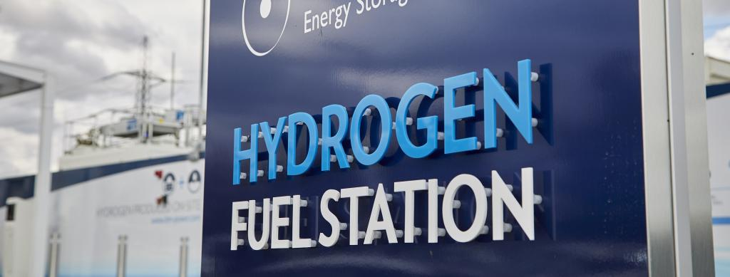At a hydrogen fuel station. Source: Wikimedia Commons