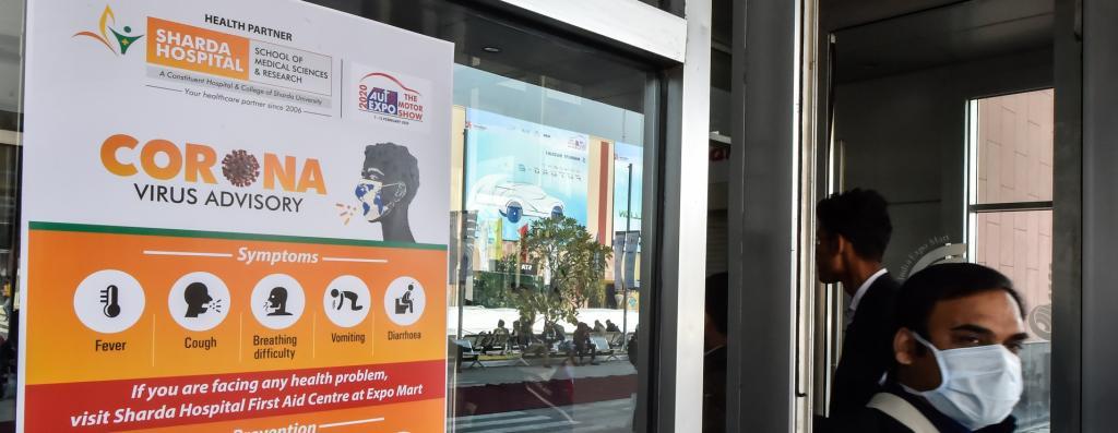 A novel coronavirus warning board at India Expo Mart, Greater Noida, Uttar Pradesh during Auto Expo 2020 Photo: Vikas Choudhary