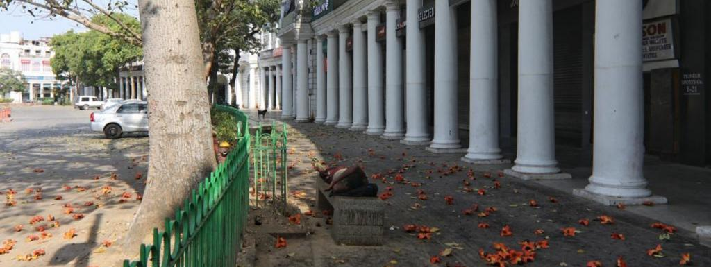 At Connaught place, Delhi, on day 1 of nationwide lockdown. Photo: Vikas Choudhary