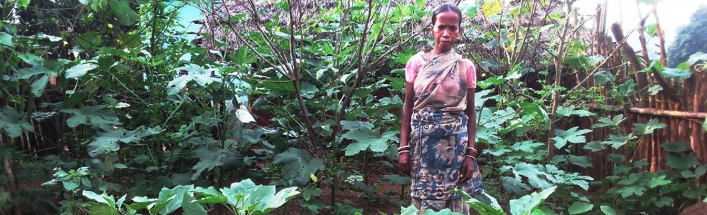 A tribal woman in Nagada stands next to her nutrition garden Photo: Atreyee Kar/Trickle Up