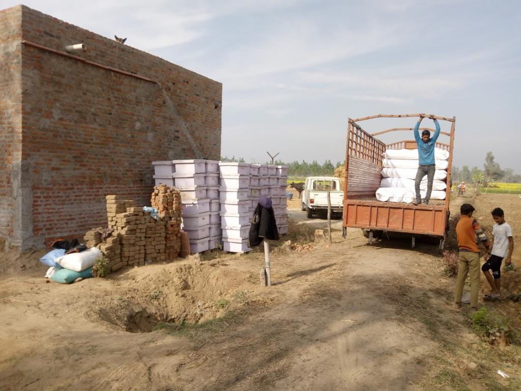मधुमक्खियों के बाॅक्स को ढुलाई के लिए तैयार करते राजस्थान के मधुमक्खी पालक
