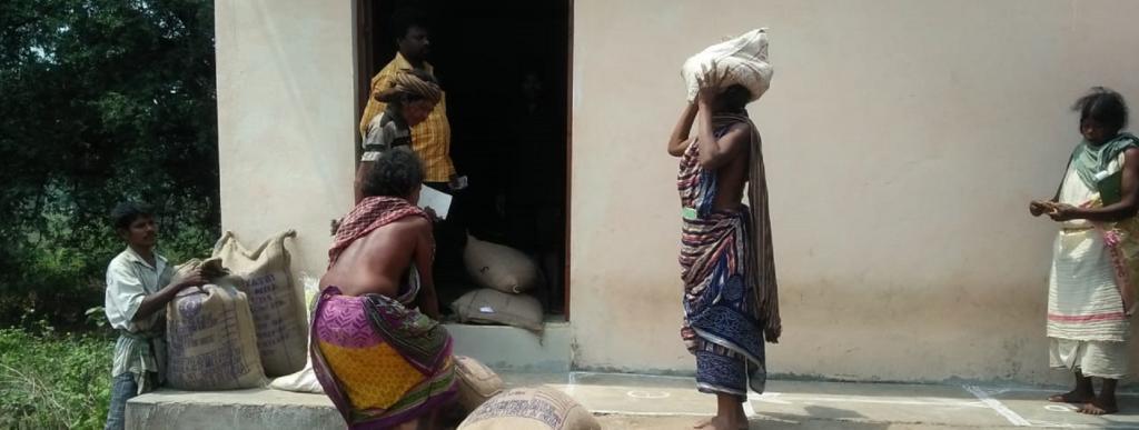 People of a village in Odisha's Rayagada district collect food grains under the PDS Photo: Priya Ranjan Sahu