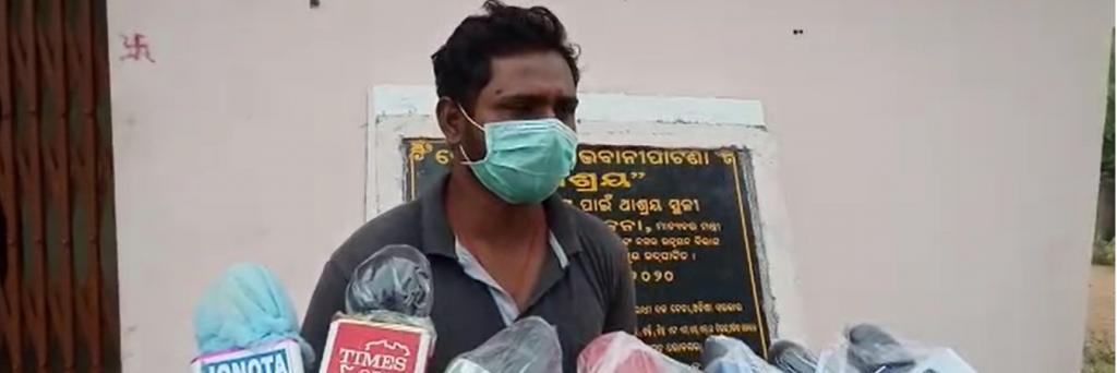 Ambulance driver Banamali Sethi answers questions from journalists