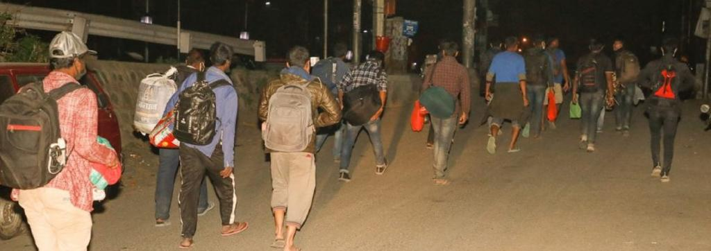 Migrant workers returning from Nepal capital Kathmandu to their village on foot Photo: Onlinekhabar.com
