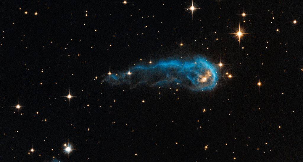This image — of a 'cosmic caterpillar' formed by one light year full of interstellar gas and dust — is on its way to 'eat' and be 'eaten'. It is actually a protostar called the IRAS 20324+4057 and is in an early evolutionary stage, gathering material from the envelope of gas that surrounds it. The harsh winds from extremely bright stars around it are 'sculpting' the gas and dust into the image of a 'caterpillar'. Photo: NASA, ESA, the Hubble Heritage Team (STScI/AURA), and IPHAS