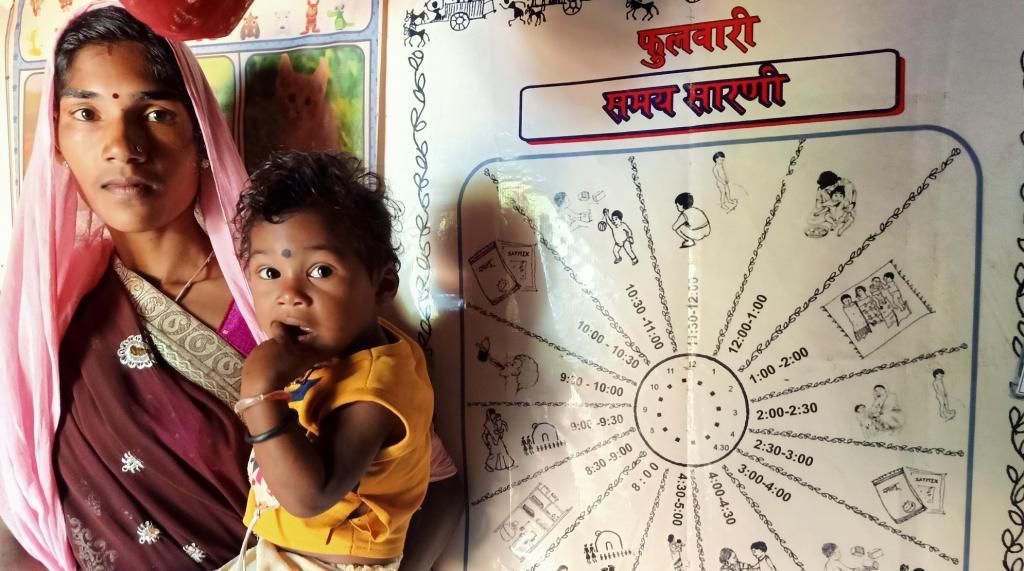A mother and a child at a 'phulwari' in Anuppur. Photo: Prashanth Chinnapanavar / CSE