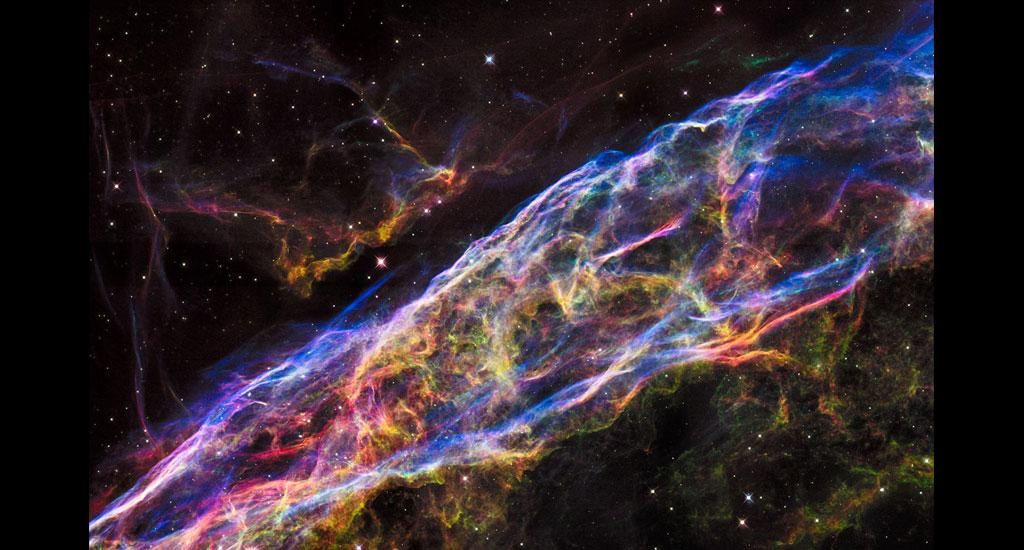 This is a small section of the Veil Nebula, as captured by the Hubble telescope in 2015. Hubble has captured the farthest reaches of the observable universe, with the help of ultra violet, visible and near infrared light observations. Photo: NASA, ESA, Hubble Heritage Team