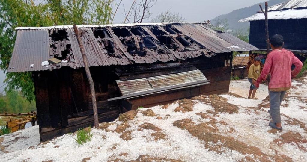Hailstorm in Nagaland's Salumi village. Photo: Anupam Chakravartty